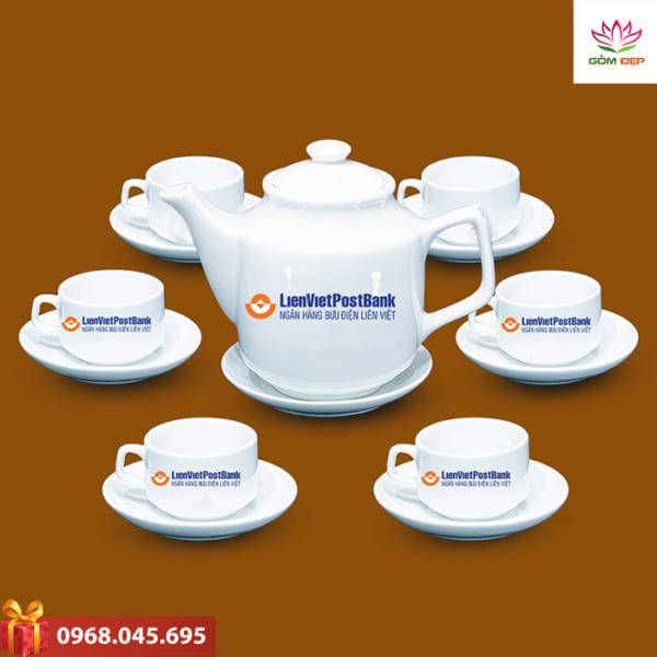 Ấm trà quà tặng in logo Lien viet post bank