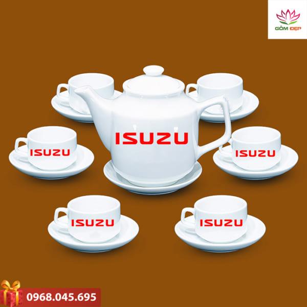 Ấm trà quà tặng in logo Oto Isuzu