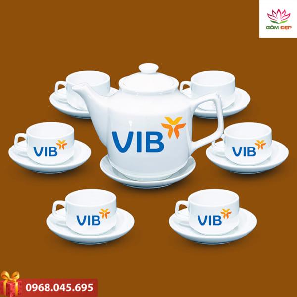 Ấm trà quà tặng in logo Vib