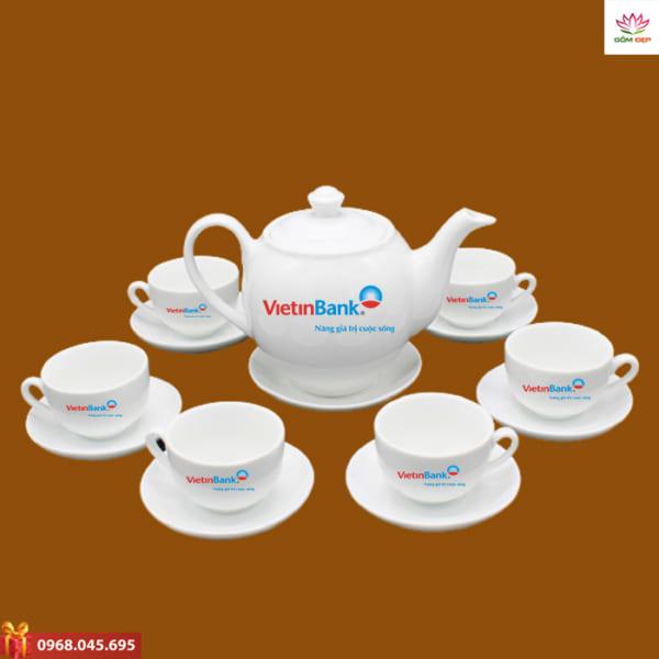 Ấm trà quà tặng in logo Vietin Bank
