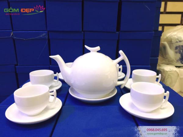 Bộ ấm trà Bát Tràng dáng bưởi cành