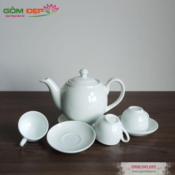 Bộ ấm trà bát tràng dáng minh long in logo theo yêu cầu