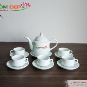 Bộ ấm trà bát tràng in logo quà tặng