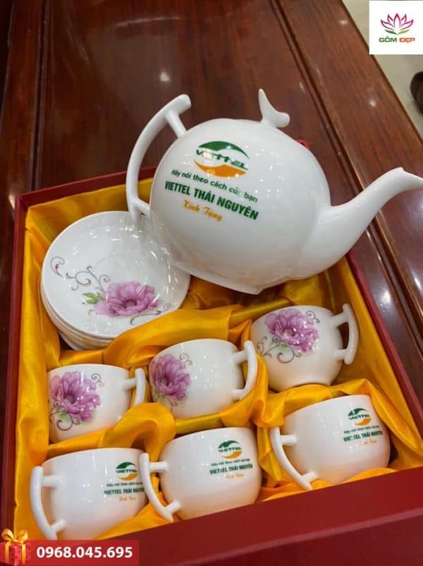 Bộ ấm trà sứ trắng dáng bưởi cành