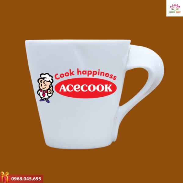 Ly sứ quà tặng in logo Ace Cook