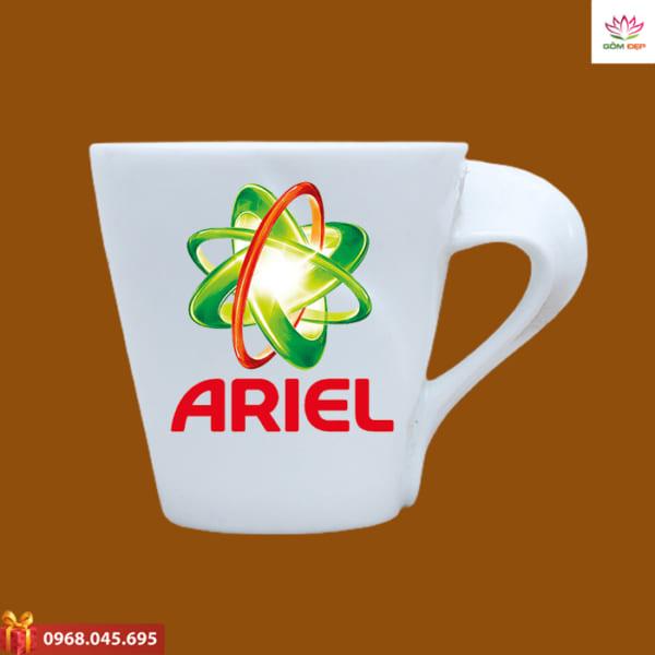 Ly sứ quà tặng in logo Ariel