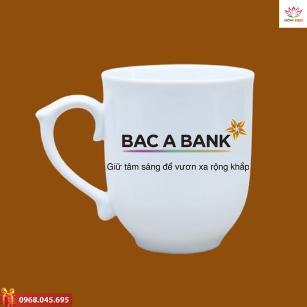 Ly sứ in logo Bac A Bank