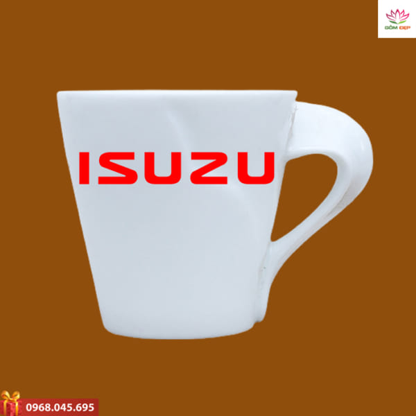 Ly sứ quà tặng in logo Isuzu