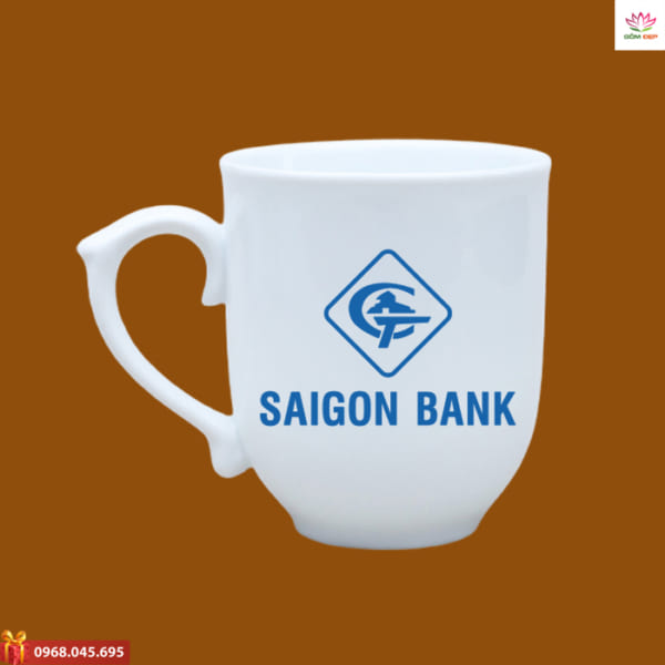 Ly sứ in logo Saigon Bank