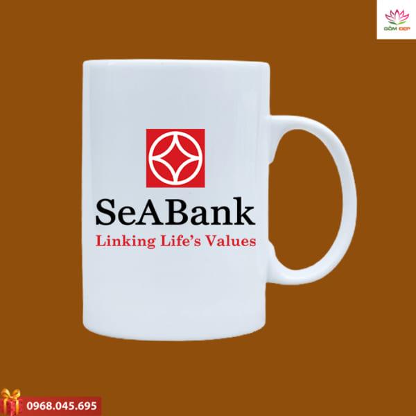 Ly sứ quà tặng in logo Seabank