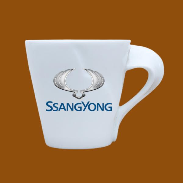 Ly sứ quà tặng in logo Ssang Yong