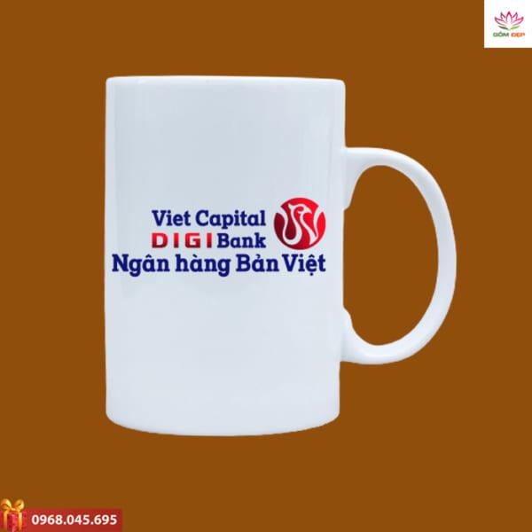 Ly sứ quà tặng in logo Viecapital