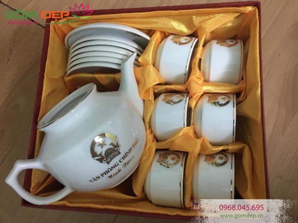 Bộ ấm trà Minh Long chỉ vàng