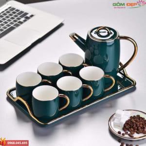 Bộ ấm trà xanh ngọc Bát Tràng cao cấp