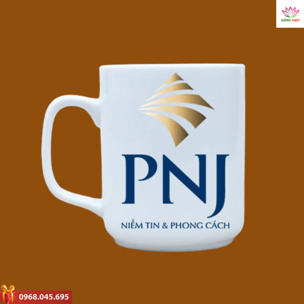 Ly sứ quà tặng in logo PNJ