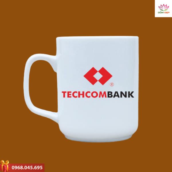 Ly sứ quà tặng in logo Techcombank