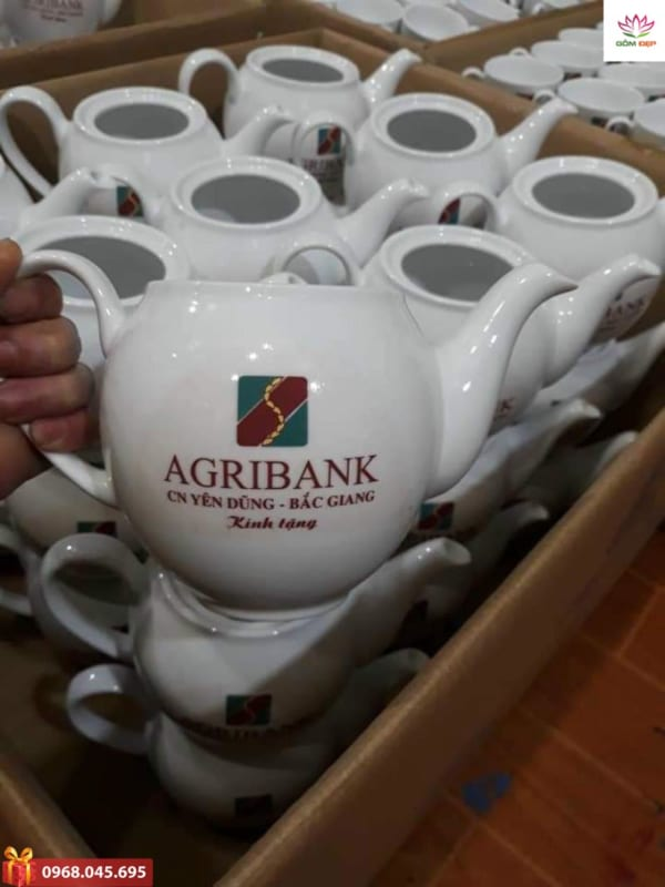 Bộ ấm chén in logo Agribank